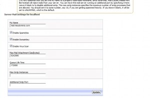 Configuração do servidor de email