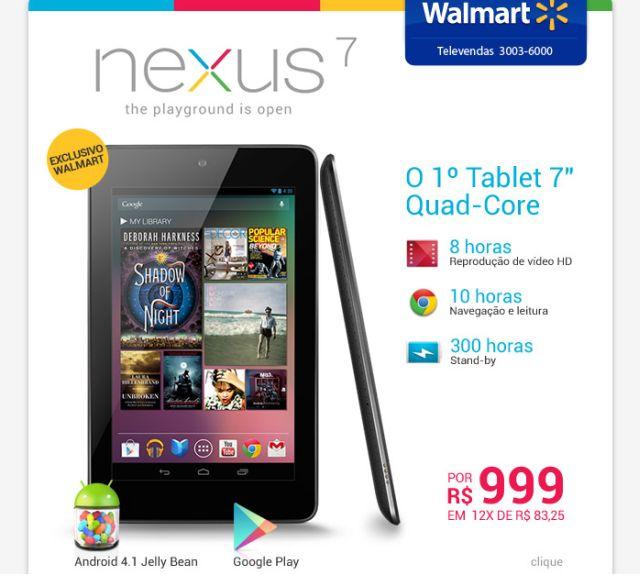 Reprodução de e-mail do Walmart divulgando o Nexus 7